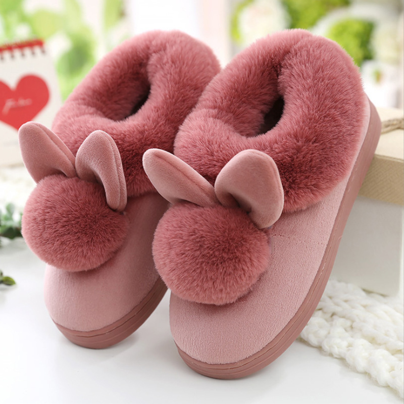 2020 Winter Suede Upper Fur Plush Warm Slippers Indoor Home Non-slip Plush Warm Shoes Hair Ball Bow-knot Flannel Soft Shoe