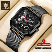 OLEVS męska w pełni automatyczny zegarek mechaniczny luksusowej marki mody drążą perspektywy kwadratowych zegarki skórzany siatkowy Top Quality tanie tanio 3Bar CN (pochodzenie) Sprzączka Moda casual Samoczynny naciąg 24cm stal wolframowa Odporna na wstrząsy Odblaskowe ROUND