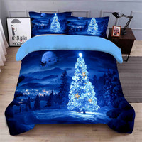 Blue Christmas tree 3D bedding set Duvet Covers Pillowcases twin 4pcs full quenn king comforter bedding sets bed linen