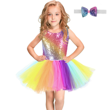 Радужное платье пачка с пайетками для детей, модное фатиновое платье без рукавов с открытой спиной Одежда для девочек яркие вечерние платья для девочек от 2 до 8 лет