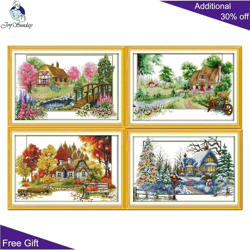 Joy Sunday Four Seasons Home Decor F558F559F560F561 Counted and Stamped Spring Summer Autumn Winter Scenic Cross Stitch image