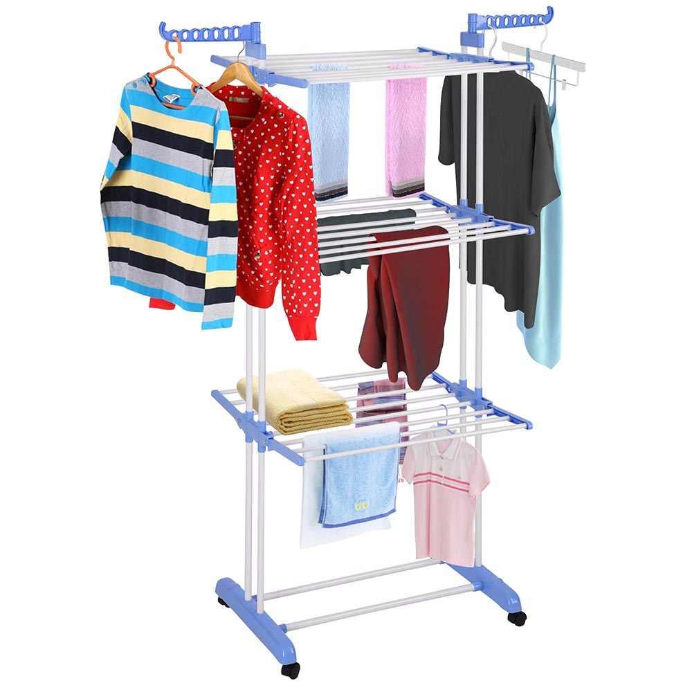 roller type foldable clothes towels hanger shelf standing garment rack organizer home bathroom organizer laundry cloth drying ra