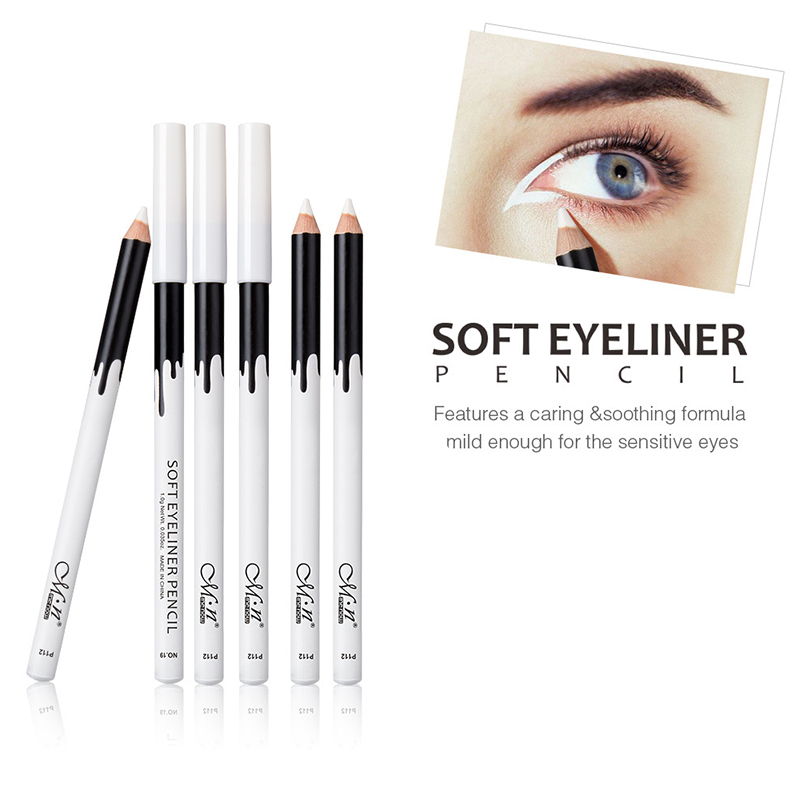 New Fashion White Eyeliner Makeup Smooth Easy To Wear Eyes Brightener Eye Liner Pen Waterproof Make Up White Eyes Liner Pencils