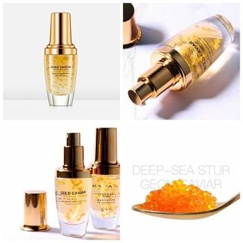 Cara Anti arrugas Anti envejecimiento ácido hialurónico suero Facial hidratante Esencia de Caviar dorado reafirmante piel líneas finas suaves