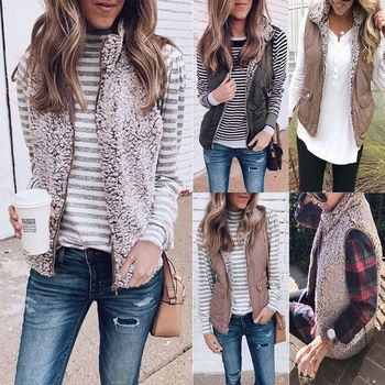 Women Sleeveless Fleece Jacket Winter Vest Female Slim Reversible Vest Windproof Warm Waistcoat
