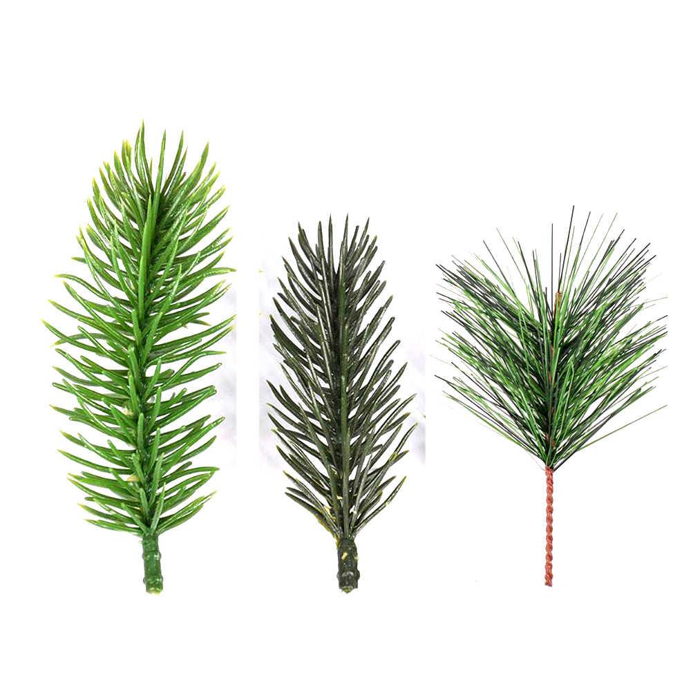 1PC Buatan Pine Jarum Simulasi Tanaman Bunga Mengatur Aksesoris untuk Pohon Natal Dekoratif Flores