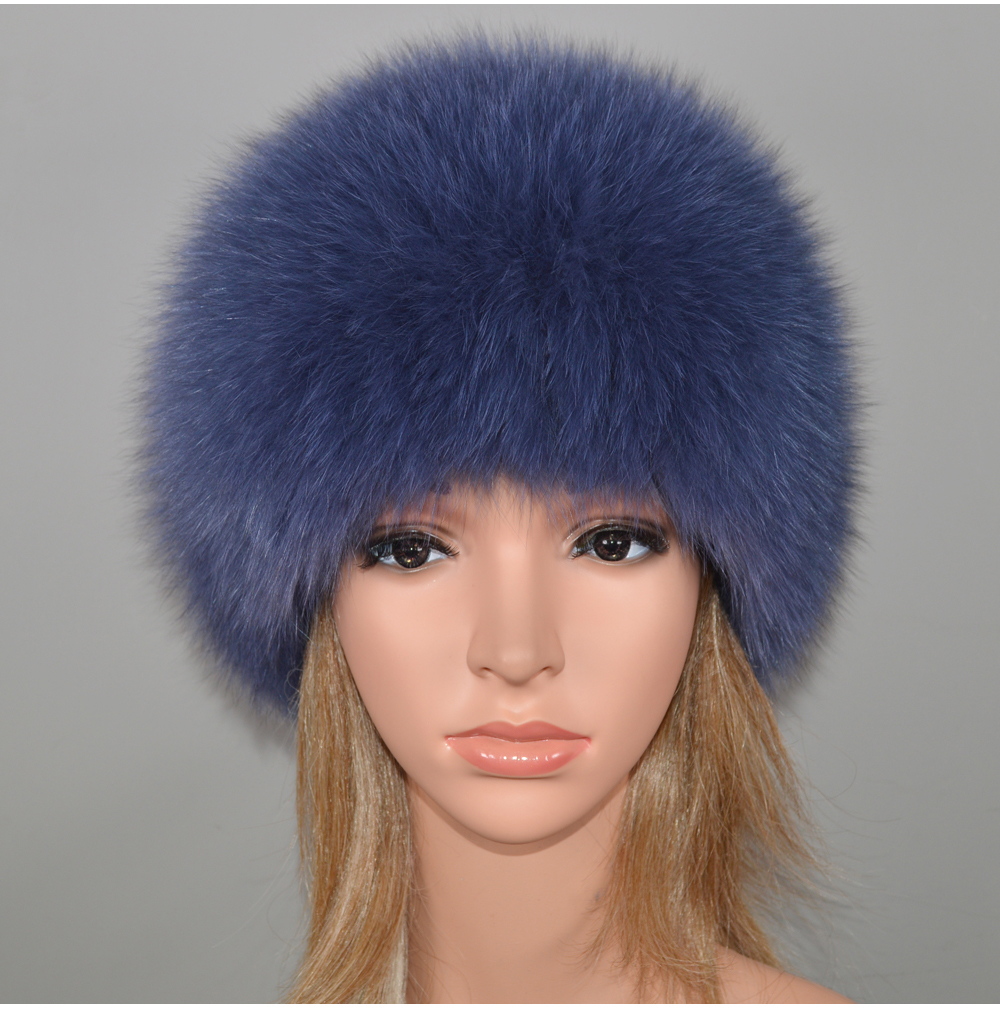 H6a2c2704e5dc4b94b4a82053acfae600q - New Luxury 100% Natural Real Fox Fur Hat Women Winter Knitted Real Fox Fur Bomber Cap Girls Warm Soft Fox Fur Beanies Hats