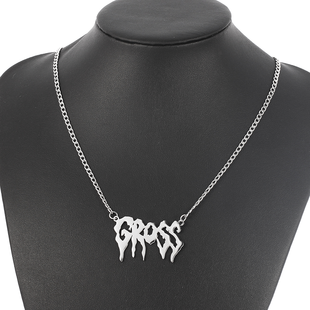 hip hop art letter Gross pendant necklace women men Gothic Punk Girls Street stainless steel Harajuku Necklaces Fashion gifts(China)