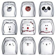 Tazas de vidrio con forma de oso, gato, perro, doble capa, té, leche, café, con boca redonda, prevención de quemaduras, dibujos animados, regalo de Navidad