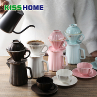 New Arrival Espresso Coffee Filter Cup Set Ceramic Pour Over Coffee Maker V shaped Funnel Dripper Household Coffee Accessories