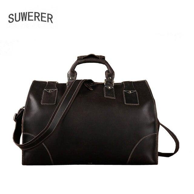 SUWERER New Genuine Leather bag Men's bag large capacity travel bag leather shoulder bag portable travel bag men large bag 1