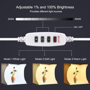 Image 4 - Для съемок в фотостудии 32 см кольцо светодиодный светильник коробка складной софтбокс светильник коробка в форме палатки для студийной фотосъемки в наборе с 6 цветов фон