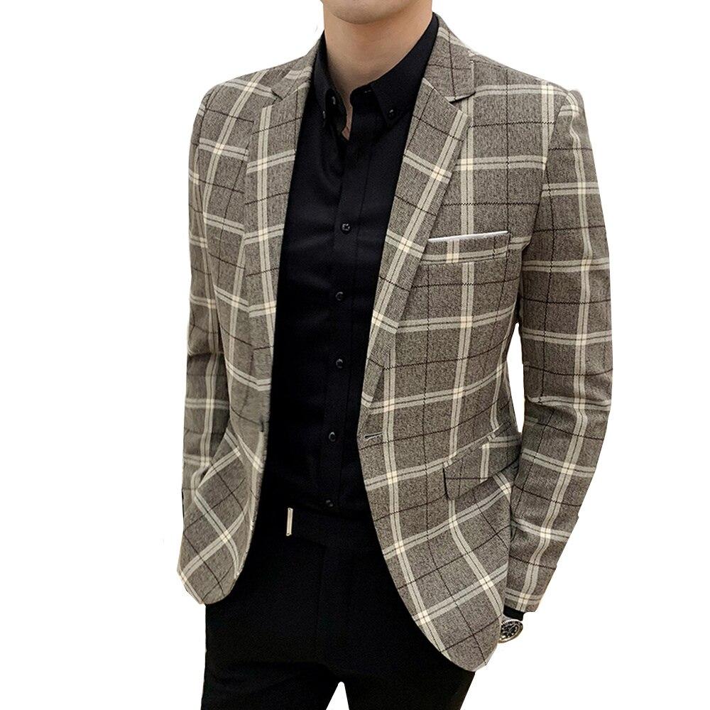 Plaid Mens Blazers 2019 Spring Autumn Blazers England Slim Fit Business Casual Blazers Male Lattice Dress Suit Jacket Outwear