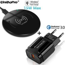 Qi 15w rápido carregador sem fio almofada com qc 3.0 ue adaptador ac para blackview bv9800 bv9700 bv9600 bv6800 bv5800 pro bv9500 plus