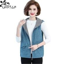 UHYTGF Corduroy Spring Autumn Vests For Women Hooded Sleeveless Female Jacket Elegant Mother Short 5XL Plus Size Waistcoat 1460