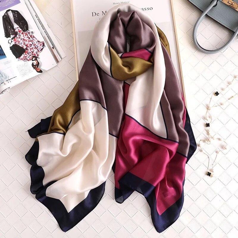 2019 Luxury Brand Women Silk Scarf Beach Shawl Summer Wrap Designer Scarves Female Pareo Foulard Stoles Bandanna Ladies Muffler