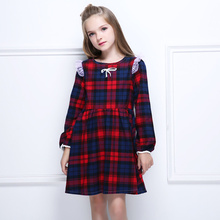 Hot Sale Retro Fashion Long Sleeve O-neck Dress Girl Plaid Spring and Autumn Cotton Lace Pleated Aesthetic Childrens