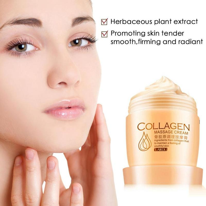 LAIKOU Collagen Face Cream Whitening Cream Firming Skin Care Massage Exfoliate Deep Pore Cleansing Oil Control Facial Cream 80g