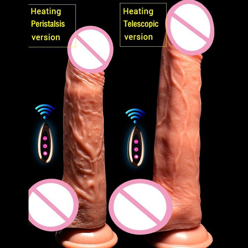 Wireless Remote Realistic Liquid Silicone Big Dildo Vibrator Sex Toys For Women Masturbator Heating Automatic Telescopic Dildos