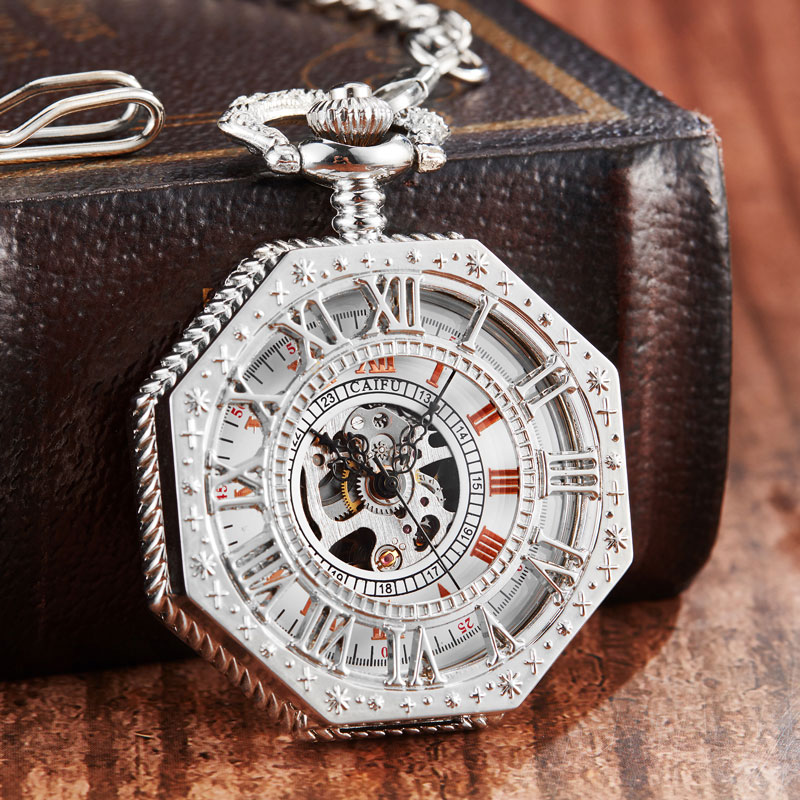 New Mechanical Pocket Watch Men Chain Fashion Silver Octagon Shape Skeleton Carving Men Hand Winding Fob Watches Christmas Gifts