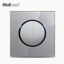 Wallpad L6 Grey Glass 2 Gang 1 Way 2 Way Wall Light Switch Electric Power Switch Push Button with LED Indicator