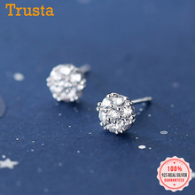 Stud-Earrings Charm Fine-Jewelry 925-Sterling-Silver Wedding Women Fashion Cute Real