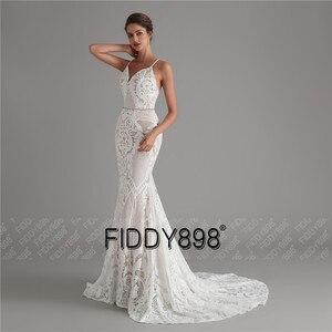 Image 3 - בציר תחרה חתונה שמלת 2020 נצנצים כלה שמלות vestido דה noiva בת ים שמלות כלה עם נתיק רכבת robe דה mariee