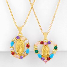 Rainbow Virgin Mary Pendant Necklaces For Women With Crystal Cross Necklaces Gold Cubic Zirconia Religious Jewelry nkeq37 gold pendant with topaz and cubic zirkonia
