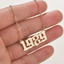 SUMENG 2020 New Fashion Year Number Necklaces Gold Color Long Chain Custom Year 1989 to 2000 Birthday Gift For Women cheap Stainless Steel Pendant Necklaces TRENDY Link Chain Metal Figure All Compatible Party Mood Tracker 3 2cm Party Wedding Anniversary Festival