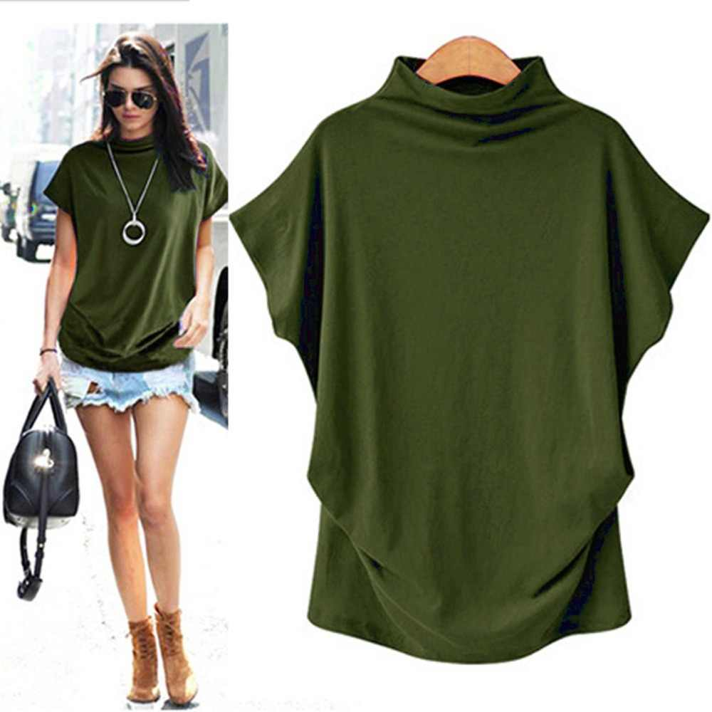 2020 Europe And America Large Size Dress High Collar Tops Bat Sleeve Short Sleeve T-shirt