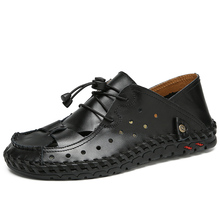 Summer Genuine Leather Men Sandals Man High Quality Sandal Slippers Breathable Male Beach Bohemia Shoes Plus Size