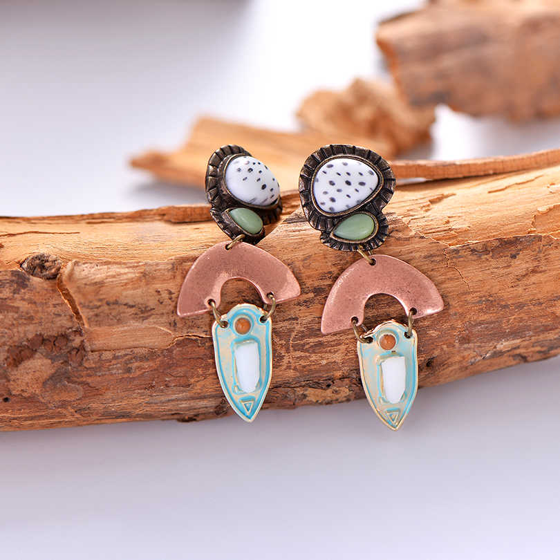 Ethnic Geometric Round Natural Stone Drop Earrings For Women Retro Copper Triangle Charm Dangle Earring Boho Jewelry Gifts
