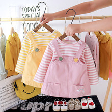 Dress Newborn Baby-Girl Clothing-Set Toddler Infant Cute Autumn Striped Overalls Strps