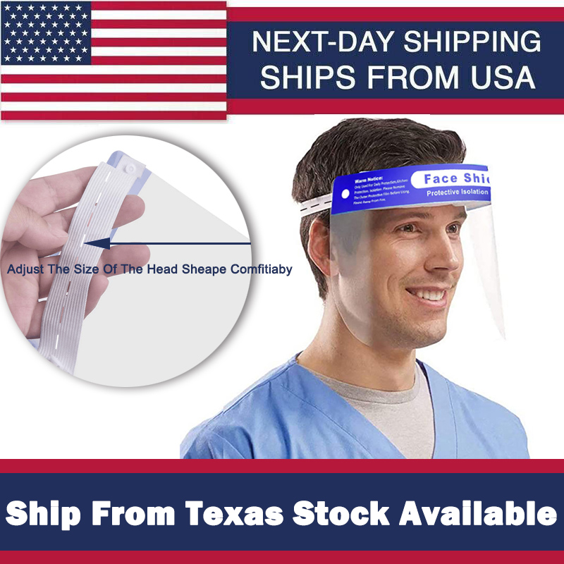 1PCS Face Sheild Plastic Ship From USA Stock Available Clear Anti-spray Full Faceshield For Adults And Kids Adjustable Size