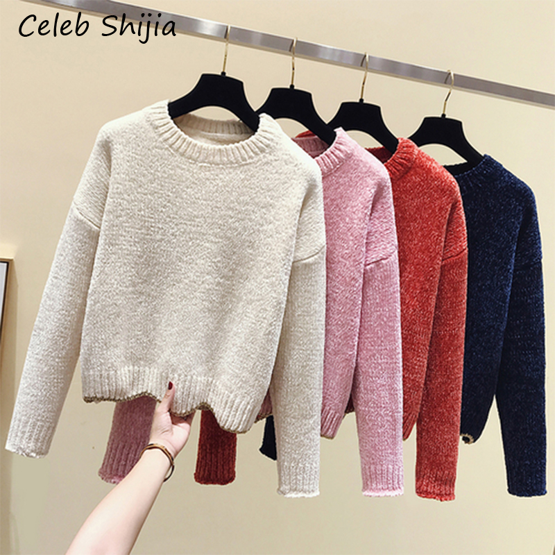 Velvet Sweater For Woman Round Collar Long-sleeve Keep Warm Autumn Winter Knitted Jumper Pullovers Female Clothing