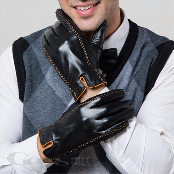 Gours Winter Men's Genuine Leather Gloves 2020 New Brand Touch Screen Gloves Fashion Warm Black Gloves Goatskin Mittens GSM012