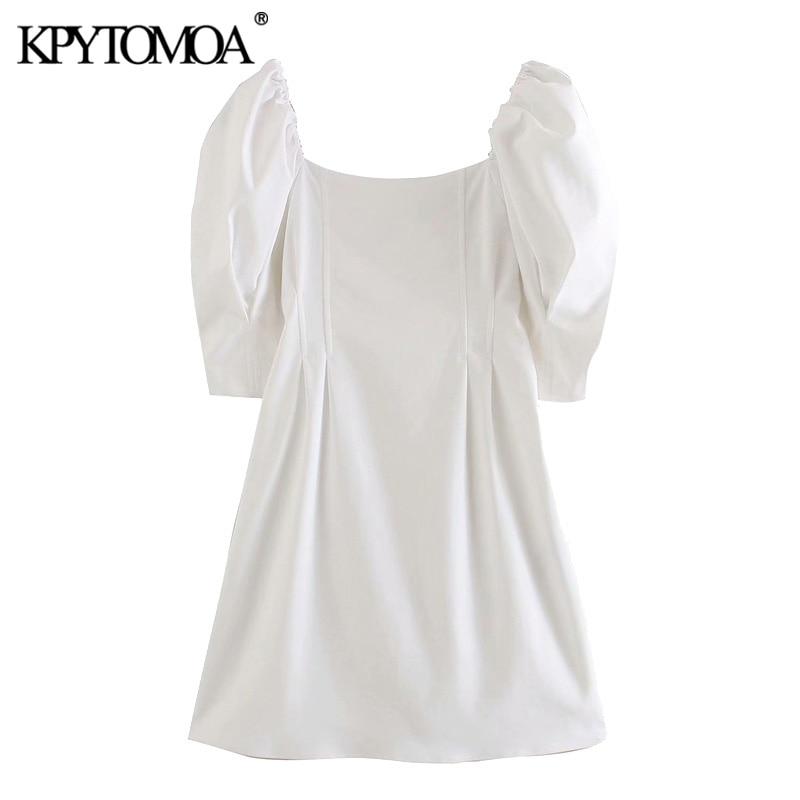 KPYTOMOA Women 2020 Elegant Fashion Puff Sleeve Mini Dress Vintage Square Collar Back Zipper Female Dresses Vestidos Mujer