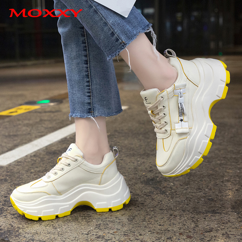 2019 New Retro Chunky Sneakers Female Fashion High Heel Platform Sneakers Women Dad Beige Black Sneakers Trainers Basket Femme