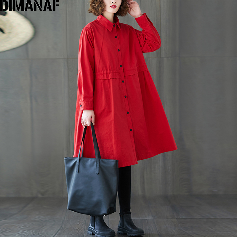 DIMANAF Women Jackets Coats Plus Size Elegant Office Lady Outerwear Female Loose Long Sleeve Cardigan Button Clothing New Spring