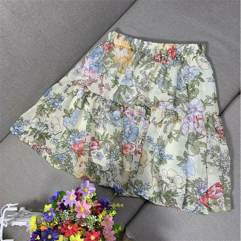 2020 New Women Spring Print Chiffon Skirts,sweet Boho SPleated Ruffled Skirt Plus Size Korean Flower Skirts M- 6XL 7XL