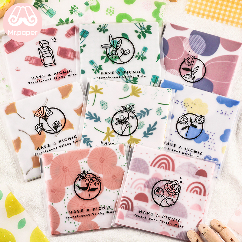 Mr Paper 30pcs/lot Transparent Butter Paper Watermelon Blueberry Memo Pad Scrapbooking Material Creative Loose Leaf Memo Pad