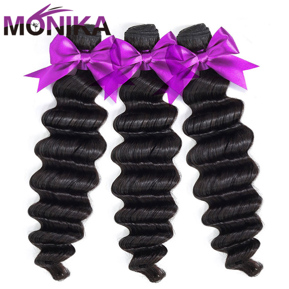 Monika Loose Deep Wave Hair 3 Bundles Deal Brazilian Hair Weave Bundles Non-Remy Human Hair Bundles Double Weft Hair Extensions