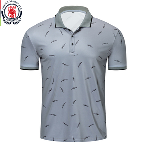 Image 1 - Fredd Marshall 2019 New Feather Printed Polo Shirt Men Casual Short Sleeve Brands Fashion Polo Shirt Male Sports Tops Tees 050