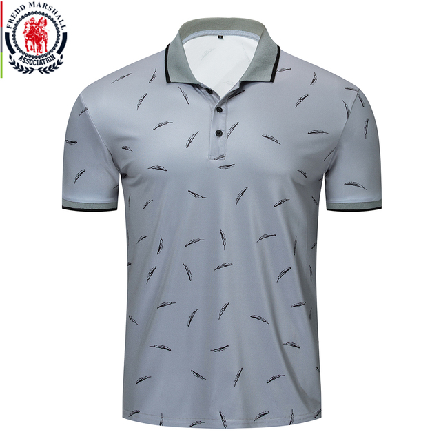 Fredd Marshall 2019 New Feather Printed Polo Shirt Men Casual Short Sleeve Brands Fashion Polo Shirt Male Sports Tops Tees 050