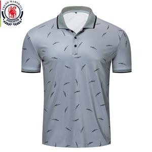 Image 1 - Fredd Marshall 2019 nowy nadruk piór koszulka Polo mężczyźni na co dzień z krótkim rękawem marki modna koszulka Polo męskie sportowe topy Tees 050