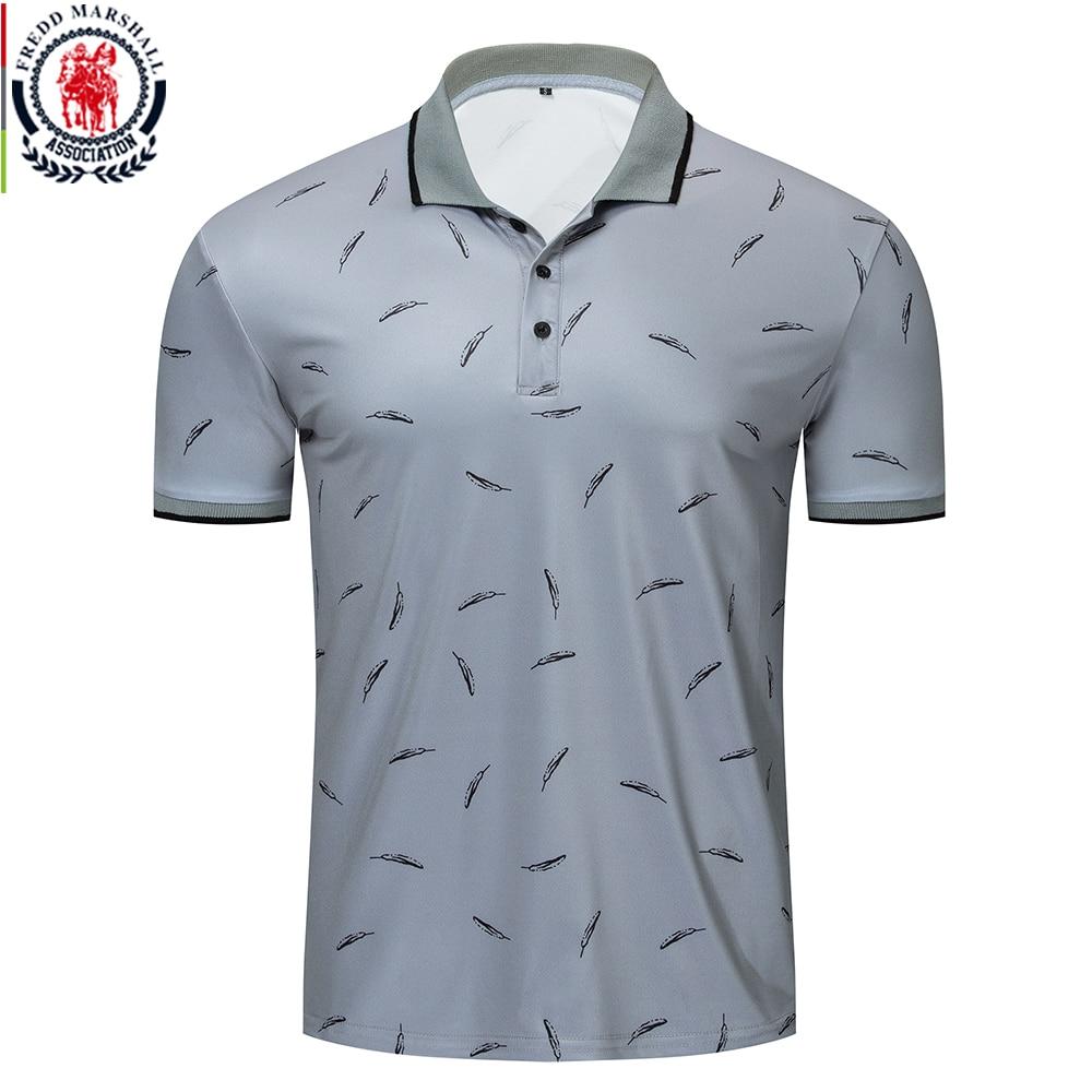 Fredd marshall 2019 nova pena impresso polo camisa masculina casual de manga curta marcas moda polo camisa masculina esportes topos t 050Polo   -