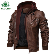 Faux Leather Jacket Men Motorcycle Hooded Warm PU Leather Jackets
