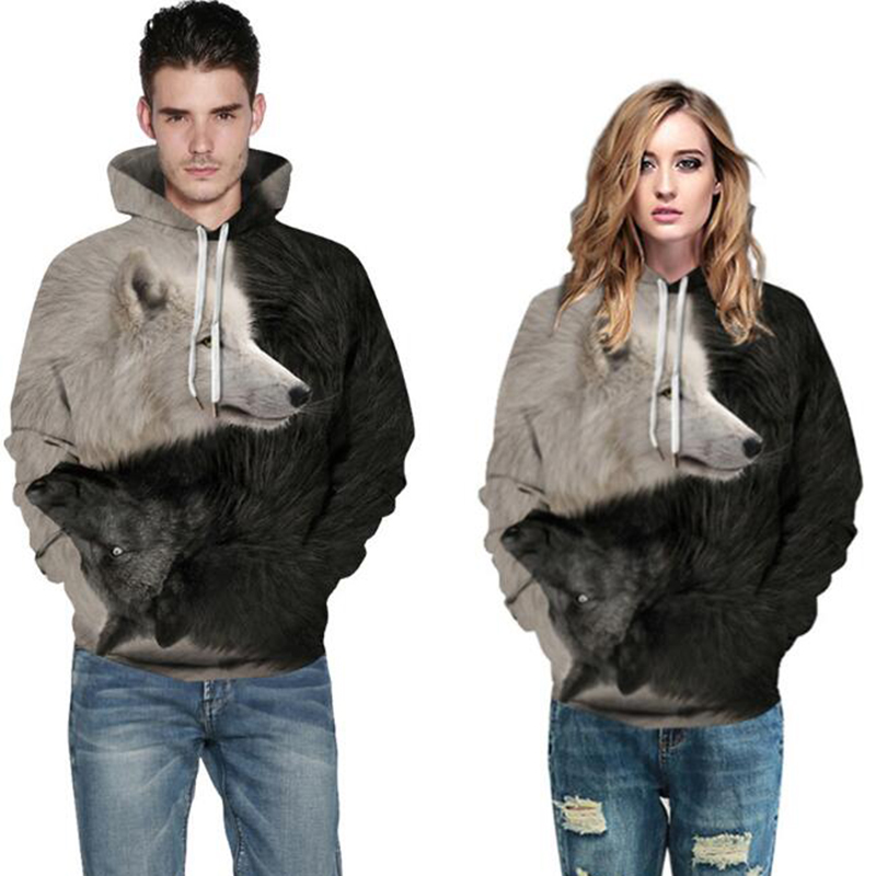2019 New 3D digital printing women's hooded autumn and winter wear fashion tide brand long sleeve couple models sweatshirt