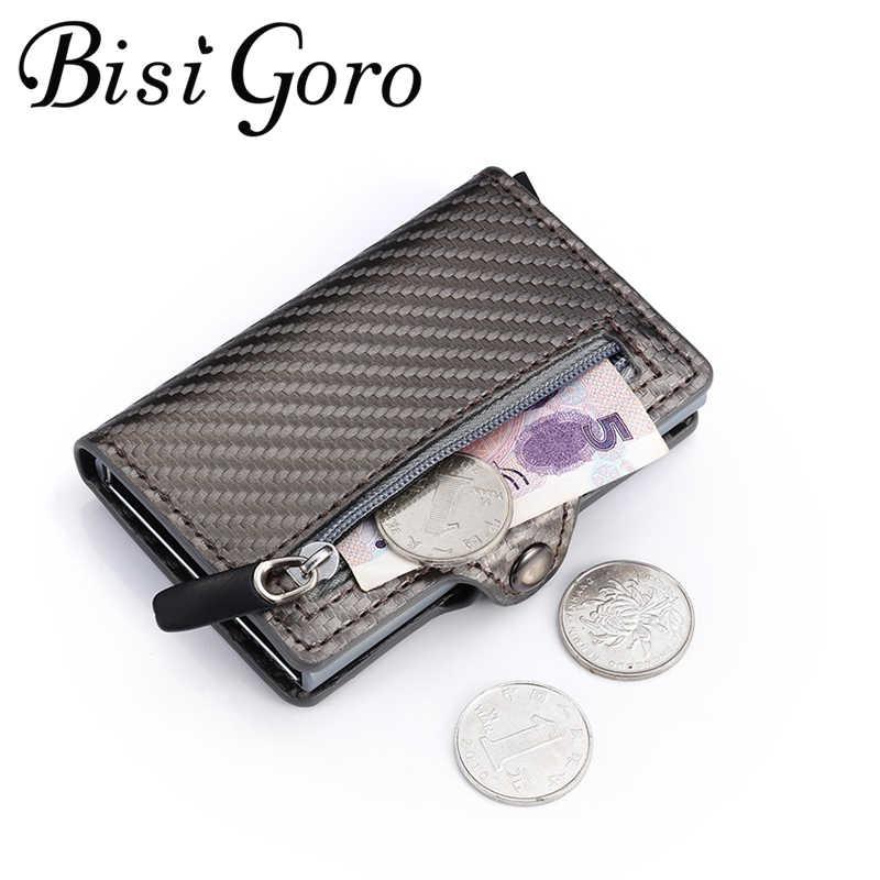 Bisi Goro 2020 Anti-Diefstal Kaarthouder Carbon Fiber Slim Wallet Card Rfid Mannen Business Knop Portemonnee Mannelijke Coin portemonnee Id Houder