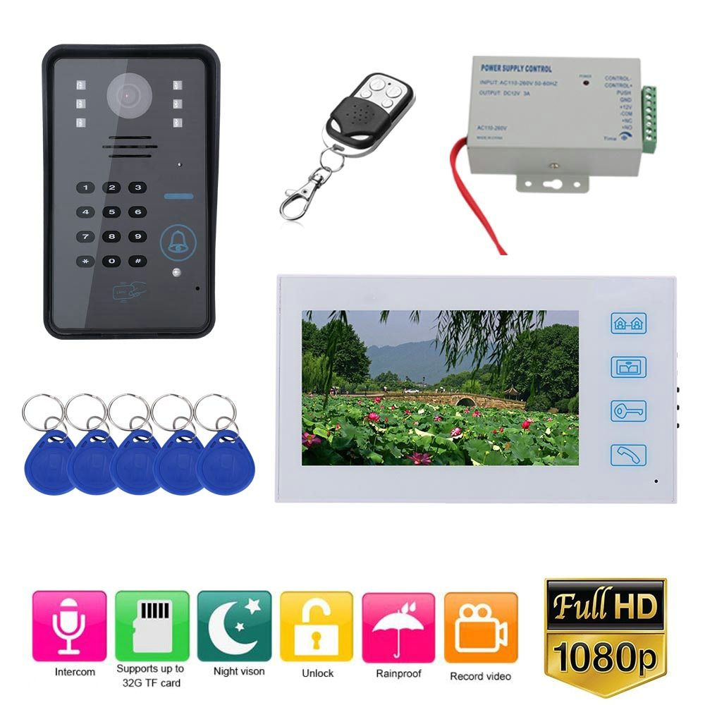 7 Inch Record Wired Video Door Phone Doorbell Intercom System With RFID Password AHD 1080P Camera Door Access Control System